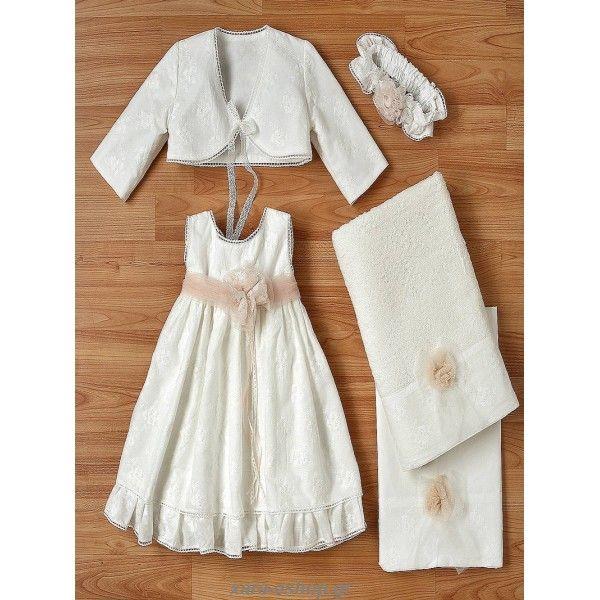 Βαπτιστικό φορεματάκι New Life από βαμβακερή ποπλίνα κεντημένη με μπαντάνα και μπολερό, Οικονομικά βαπτιστικά ρούχα κορίτσι, Επώνυμα βαπτιστικά φορέματα προσφορά, Βαπτιστικό φόρεμα οικονομικό, Βαπτιστικά για κορίτσι τιμές