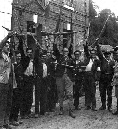 Welcoming scenes by local Resistance fighters such as these waving ...