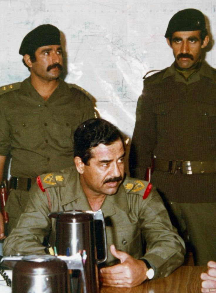 Saddam Hussein and bodyguards, 1980s