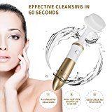 KINGDOMCARES Gesichtsreinigungsbürste 2-in-1 Gesichtsbürste Wasserdicht Elektrisch Gesichts-Massagegerät (Rosa) mit 3 Bürstenköpfen Gesichtsepilierer Tiefenreinigung Entfernt Mitesser Hautpflegee 1 AA-Batterien betrieben Golden