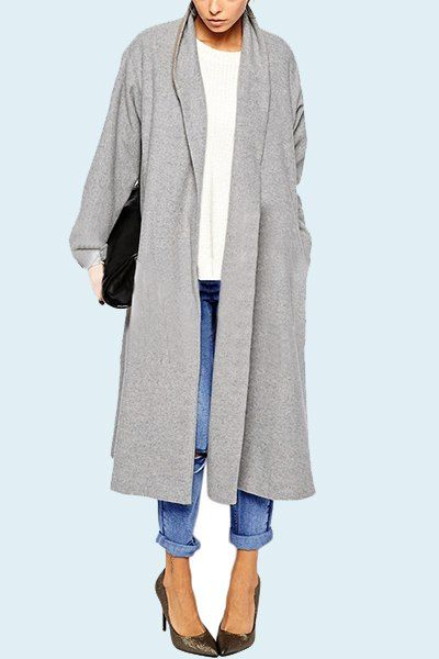 Graceful Shawl Collar Long Sleeve Gray Loose-Fitting Trench Coat For Women