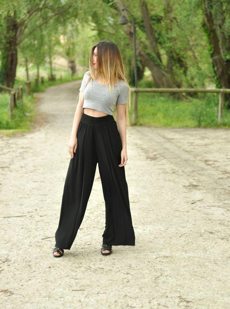 pantaloni palazzo neri vita alta MIAWISH SS16