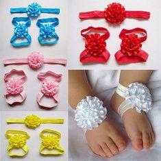 #Banggood Дети девочка младенцы ноги аксессуары цветок босиком сандалии цветочные Hairwear оголовье фотографии реквизита набор (1015590) #SuperDeals