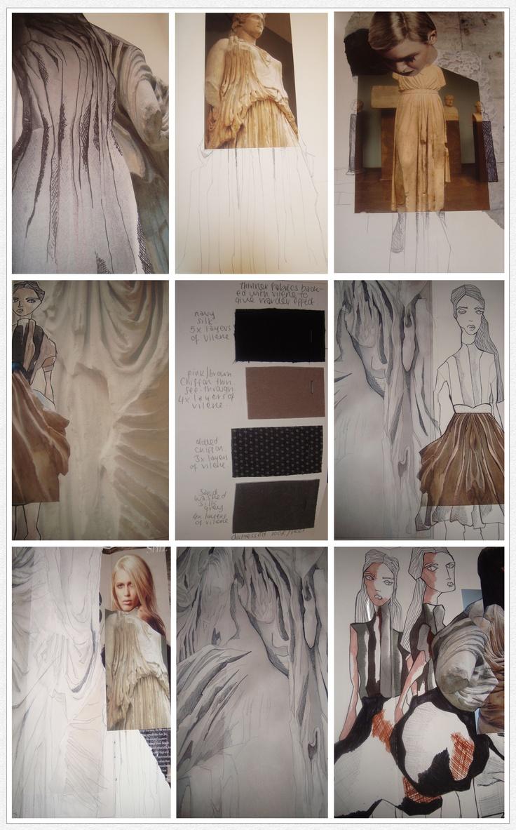 Fashion Sketchbook fashion design drawings, sampling, fabric manipulation development