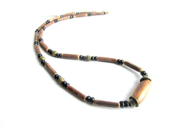 Mens wooden necklace wood beaded necklace mens coconut