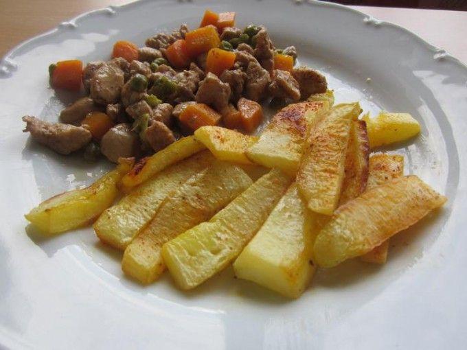Zeleninové kuřecí soté s dýňovými hranolky