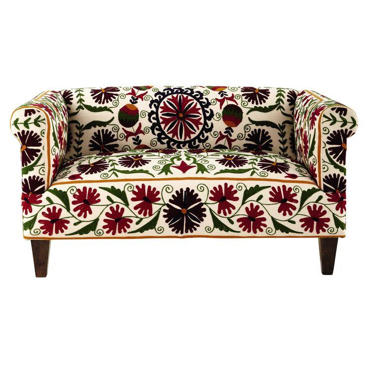 Canapé 2/3 places en coton brodé motifs floraux Hibiscus € 599.90