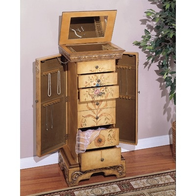 Powell Masterpiece Hand Painted Jewelry Armoire In Antique