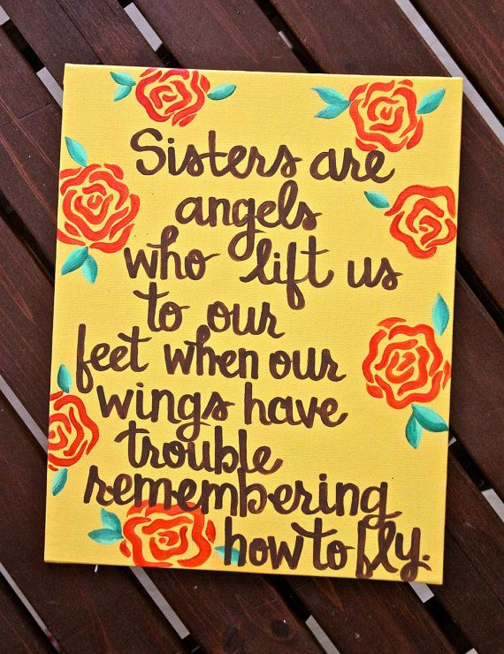Sisters are angels Canvas Painting 11X14 by graceelliott10 on Etsy, $28.00