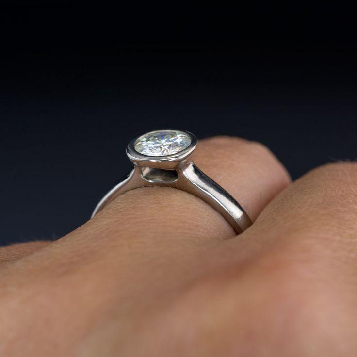 Peekaboo Bezel Set Round Moissanite Solitaire Palladium Engagement Ring, size 6 to 9
