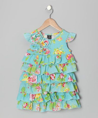 Take a look at this Aqua Orleans Rose Angel-Sleeve Dress - Infant, Toddler & Girls by Mack & Co on #zulily today! $44.39