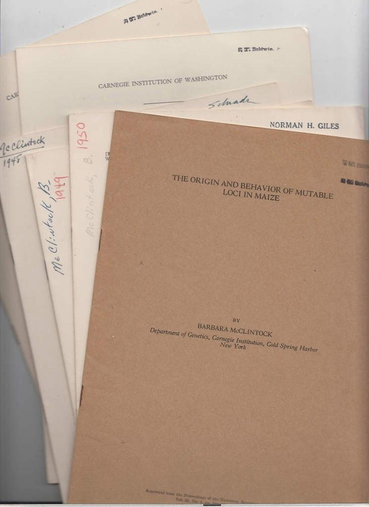 6 papers by Barbara McClintock 1948-1952 her Nobel Prize work