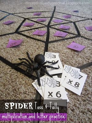 Kids can practice math facts or letters with a black electrical tape spiderweb and plastic spider! Stop by Relentlessly Fun, Deceptively Educational for instructions and downloads to this PreK and primary game!