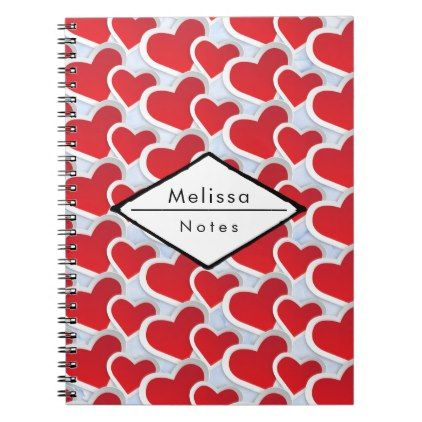 2 Red Hearts Repeating Pattern Cute Notebook | Zazzle.com