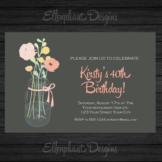 Flowers in jar vase 40th Birthday Invitation, suits 30th 50th 60th 70th, pretty, flower, ribbon, custom invite, digital file, you print on Etsy, $17.32 AUD