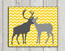 Yellow gray deer decor Couple gift Yellow grey chevron Home decor Large deer art Couple in love Stag Doe 20x16, 8x10 C INSTANT DOWNLOAD