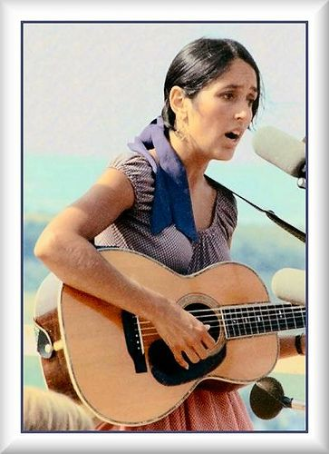 Joan Baez (Solo folk & country vocalist & instrumentalist. Prominent member of the counterculture movement, social activist, & original performer at Woodstock. Given honorary Doctor of Human Letters degrees by Antioch University & Rutgers University for her political activism & universality of music. Received a Grammy Lifetime Achievement Award, & became the subject of the Amnesty International Joan Baez Award for humanitarian work)
