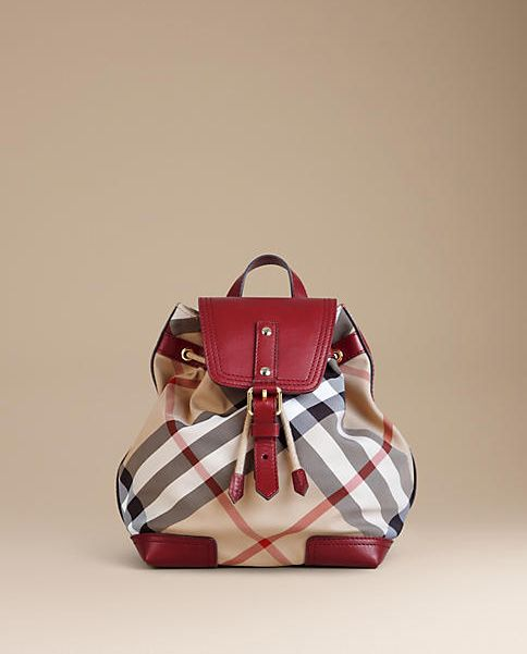 Burberry Plaid and Laquer Red Backpack
