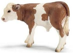 Simmental Calf by Schleich - 13642  Simmental cattle are patched in red and white. Originally from the valley of the Simme River in Switzerland, Simmental cattle are one of the oldest and most distributed cattle breeds. This Simmental Calf by Schleich is highly detailed and meticulously hand-painted to give them the most realistic appearance possible. This Schleich calf is a reflection of nature in a smaller scale, with true-to-life modeling to enhance children's engagement in pretend play…