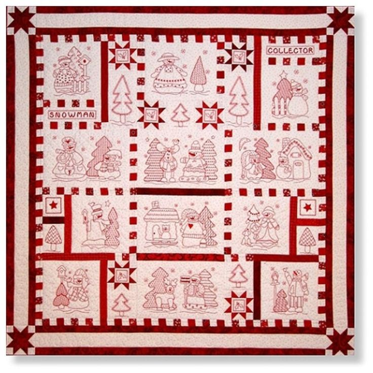 Redwork Quilt Patterns Christmas : Snowman Collector Hand Pattern redwork quilts ...