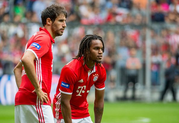 Renato Sanches and Javier Martinez of FC Bayern Munich are seen during a training session starts at Allianz Arena on August 6 2016 in Munich Germany