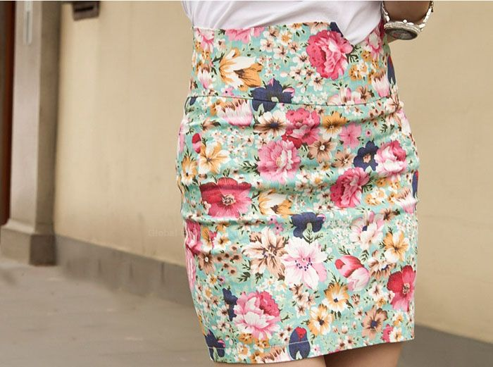 Cheap Wholesale Retro Style Floral Pattern Print and High Waistline Design Skirt