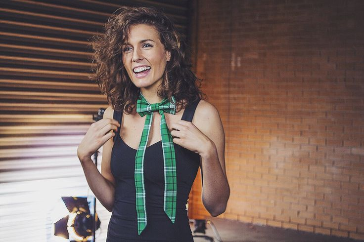 Emily Macfarlane wears Green Plaid Sailor Tie www.bties.com.au