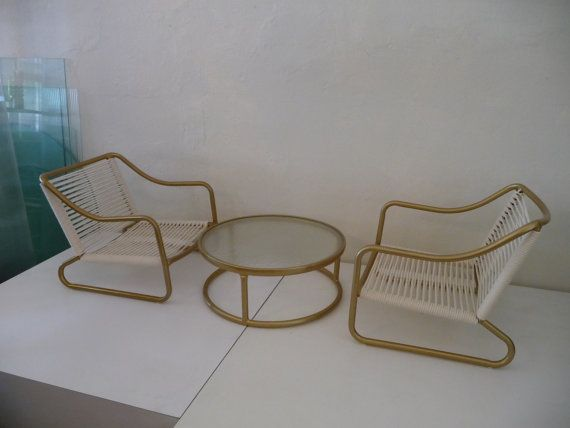 Rare Brown Jordan Kailua Chairs and Table Gold by XcapeVintage