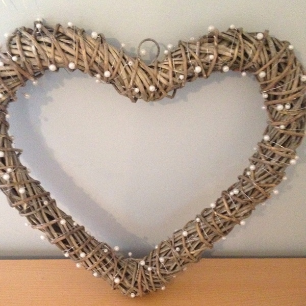 Another DIY Project Large Wicker Heart Decorations With Pearl Floristry Wire Wrapped Round Will