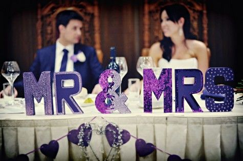 Purple Mr. and Mrs. Wedding Decor - great for the head table! :)