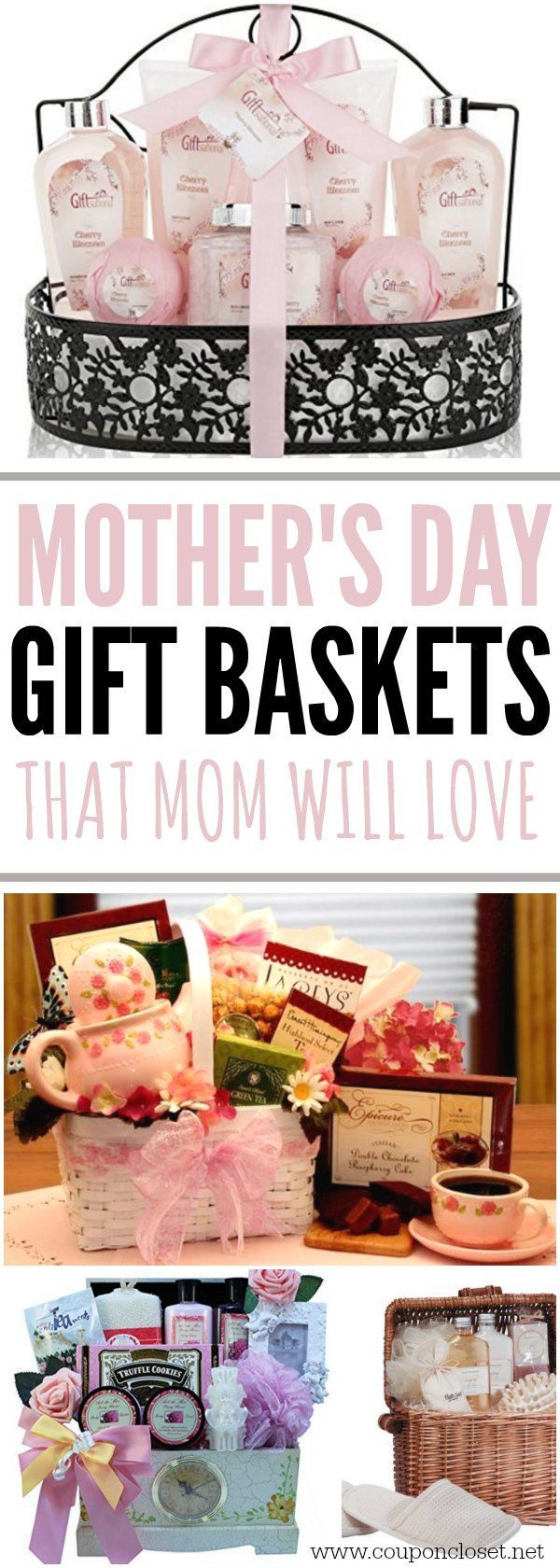 Here are some fun Mother's Day Gift Basket Ideas that Mom will love. This Mother's day pamper mom with one of these baskets for easy Mother's Day gifts.