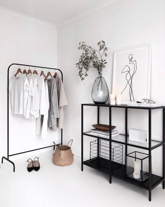 #wohnen #wohnideen #kleiderstange #minimalistisch #schwarzweiss  – INTERIORS | HOME