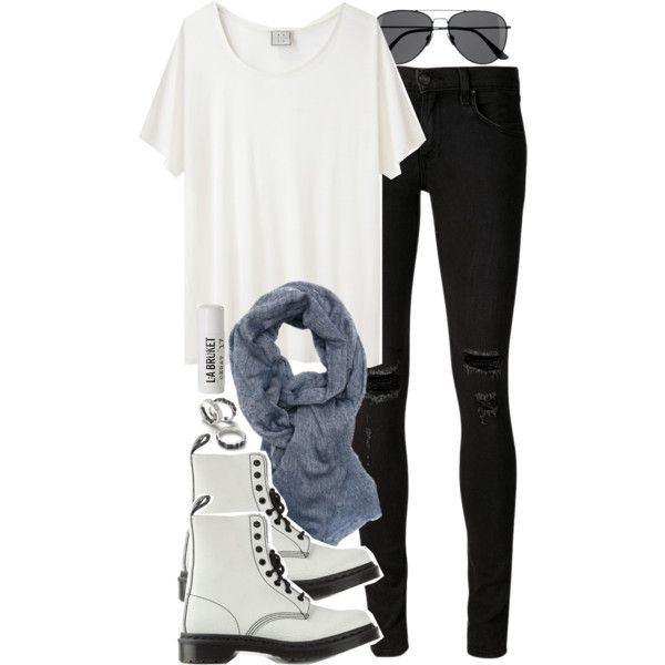 Isaac Inspired Outfit with White Dr. Martens by veterization on Polyvore featuring moda, Base Range, rag & bone/JEAN, Dr. Martens, BeckSöndergaard, H&M and L:A Bruket