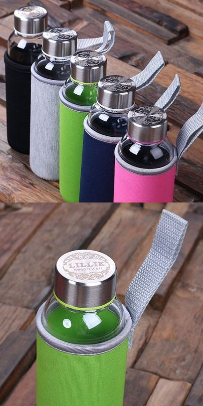 Glass Water Bottle w/ Neoprene Holder and Personalized Lid (5 Colors) | Personalized Gifts and Party Favors