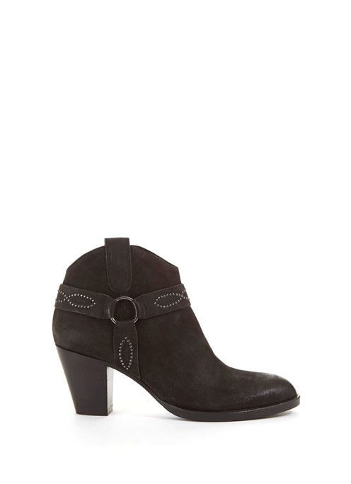 Black Rose Stud Ankle Boot