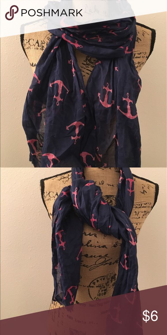 Nautical scarf Blue and pink anchor scarf . Accessories Scarves & Wraps