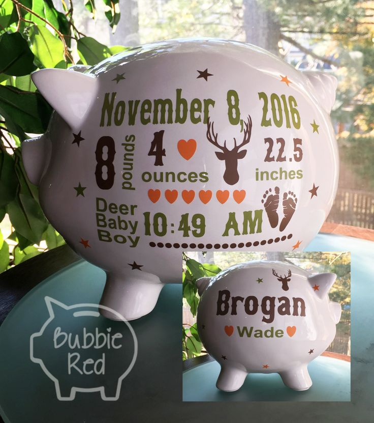 Hunting Baby Personalized Piggy Bank, Custom Camo Piggy Bank,  Camo Hunting Piggy Bank, Camo Baby, Hunting Baby, Baby Boy Birth Stats Gift by BubbieRed on Etsy