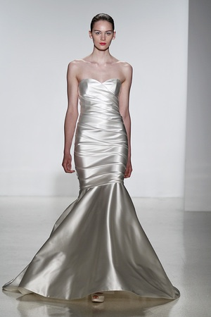 This glamorous Kenneth Pool wedding gown looks like liquid silver, stunning!