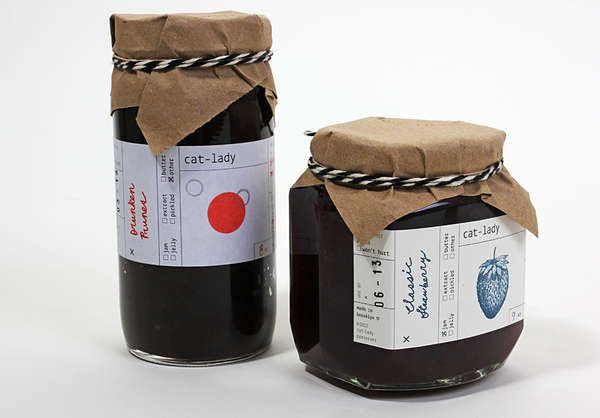 SWELL Packaging.  Wholesome Homemade Jam Packaging - Cat Lady Preserves Use Simple Materials to Contain It's Product (GALLERY)