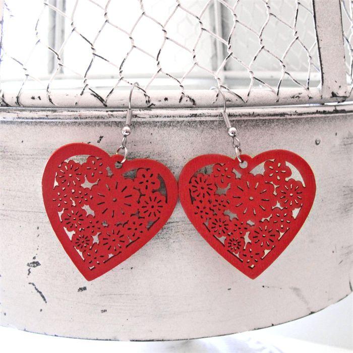 Heartfelt Fundraiser Laser Cut filigree Wood Earrings - Red Heart