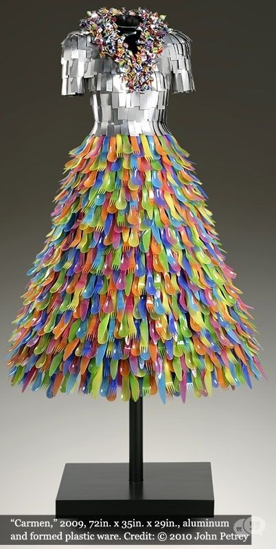 Dress made of plastic cutlery