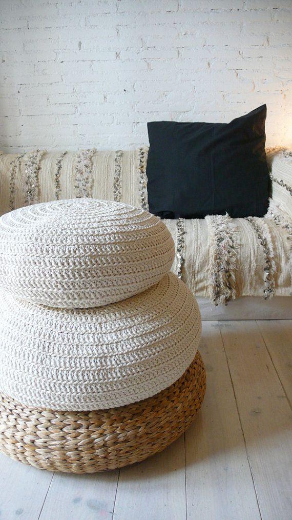 Large Floor Cushion Crochet- ecru