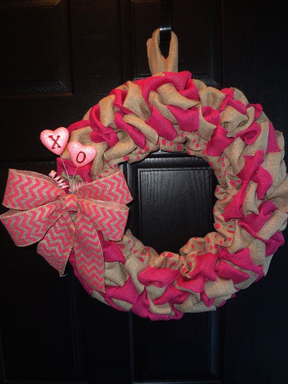Burlap Wreath, Pink Wreath, Chevron Wreath, Valentine's Wreath, FREE SHIPPING