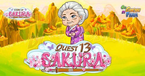 Story Of Sakura Quest #13  Inizio previsto per il 06/06/2016 alle ore 13:30 circa Scadenza il 13/06/2016 alle ore 12:30 circa    Mancano 8 giorni 20 ore 25 minuti 19 secondi alla scadenza della quest!    Quest #1  Fatti mandare dai tuoi vicini 7 Bamboo Reeds; con gli sconti SmartQuest dovrebbero servirne un massimo di 1 (clicca sul tasto Ask Friends per pubblicare la richiesta sulla tua bacheca).  Raccogli 80 zolle di Mushroom Statues da 10 min  Mushroom Statues da 10 min (locked in Story Of…