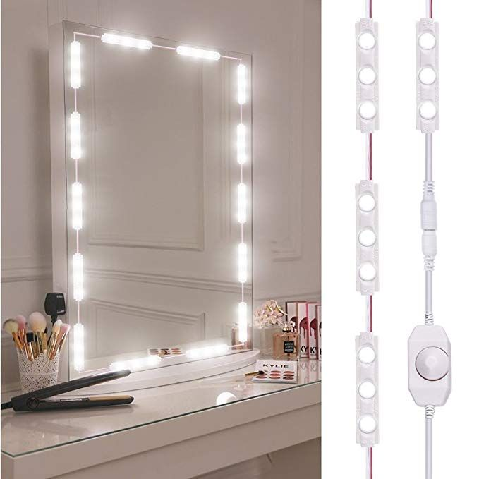 Led Vanity Mirror Light Viugreum Dimmable 60 Leds Makeup Mirror Light Kits 10ft 1200lm Waterproof Diy Led Light Strip Daylight White 6000k With Dimmer For Van Diy Vanity Mirror Led Vanity