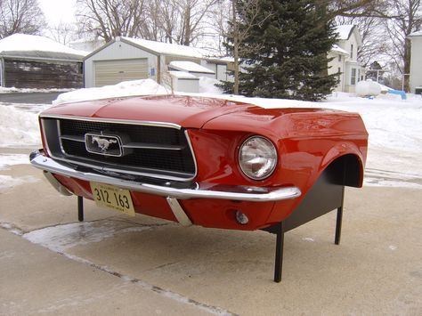 This is NOT a cheap plastic copy. This is the REAL CAR! If you are a true Ford Mustang enthusiast check out this beautiful '65 Mustang desk created from a real front end section and can be perfected t