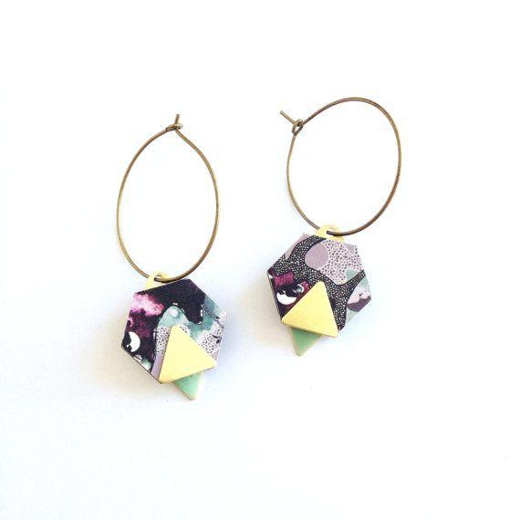Geometric Hexagon & Triangle Earrings - Purple Hex Earrings Hexagon Jewellery Geometric Hoop Earrings Laser Cut Geometric Dangle Earrings