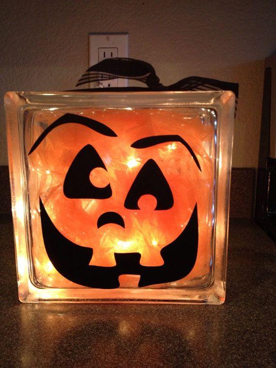 Vinyl faces for pumpkins or glass blocks by 2VinylChicks on Etsy