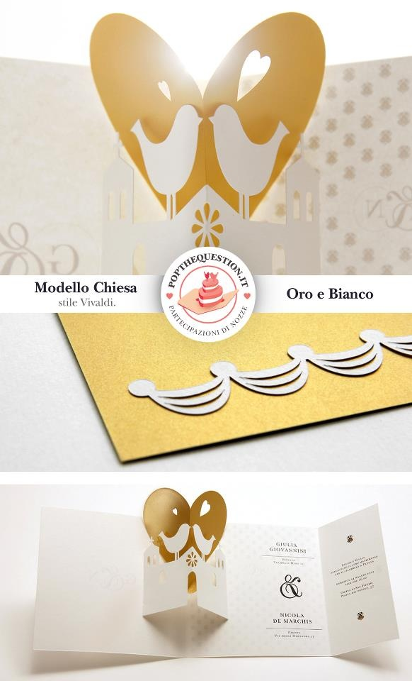 Partecipazioni di matrimonio Pop-Up bianco e oro. #wedding #popup