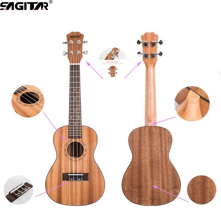 באיכות גבוהה 23 Inch 18 Frets Ukulele (Uke, הוואי גיטרה אקוסטית) אשוח Sapele-Rosewood חיף 4 מחרוזות למתחילים
